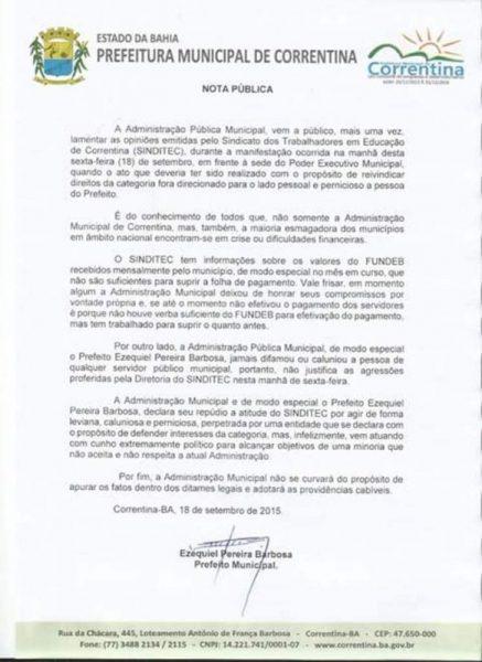 Nota do prefeito Ezequiel sobre a greve
